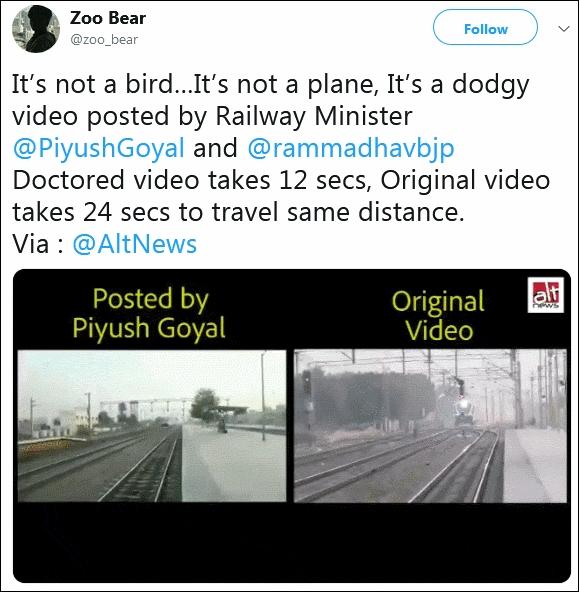 原影片及部長普拉布發布的影片比較。Twitter截圖