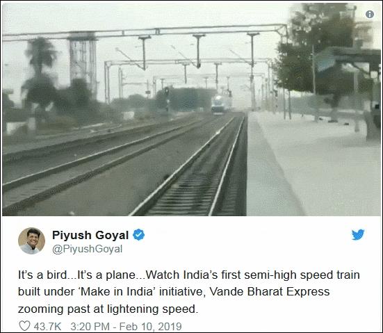 印度鐵路部長被揭高鐵影片造假,影片校快1倍速。Twitter截圖
