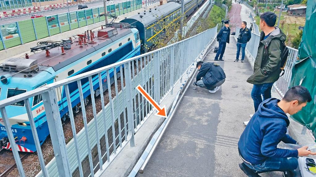 17米扶手欄桿涉被人擲下,影響列車服務。資料圖片