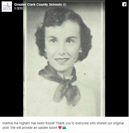 失主60多年后终重获手袋。Greater Clark County Schools facebook