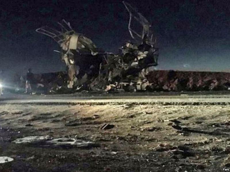 伊朗革命卫队巴士遇袭,最少27死,一个逊尼派组织认责。(网图)