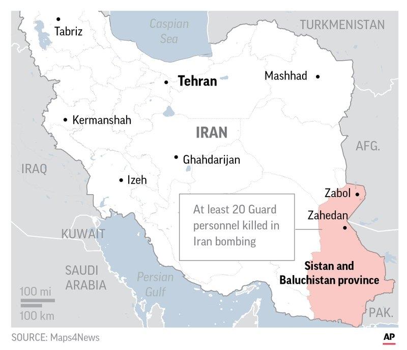 伊朗革命卫队在东南部锡斯坦俾路支斯坦省受到自杀式炸弹袭击。(网图)