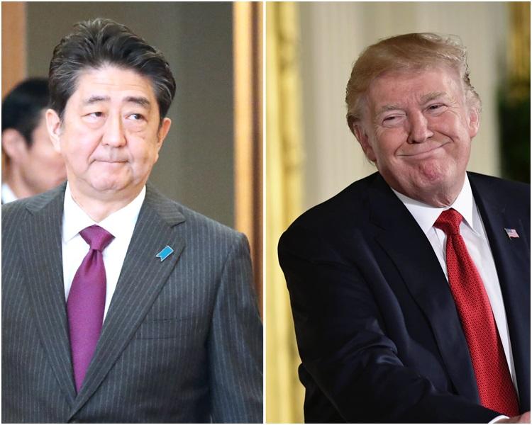 特朗普(右)指安倍晋三(左)提名他角逐诺贝尔和平奖。