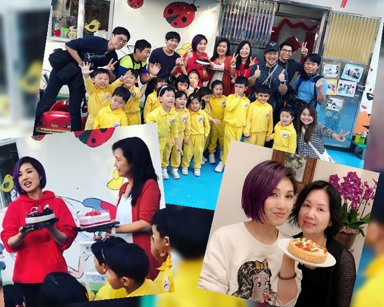 千嬅跟呂校長和幼稚園生共度農曆生日 。(ig圖片)