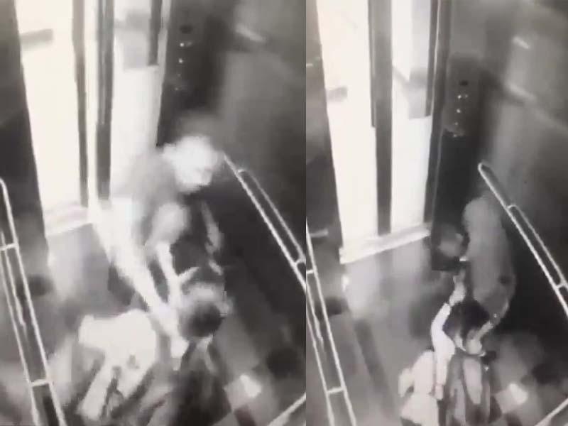 马来西亚一名男子尾随单身妇女进入电梯,拳打脚踢,持续了40秒,最终将钱包抢走。(网图)