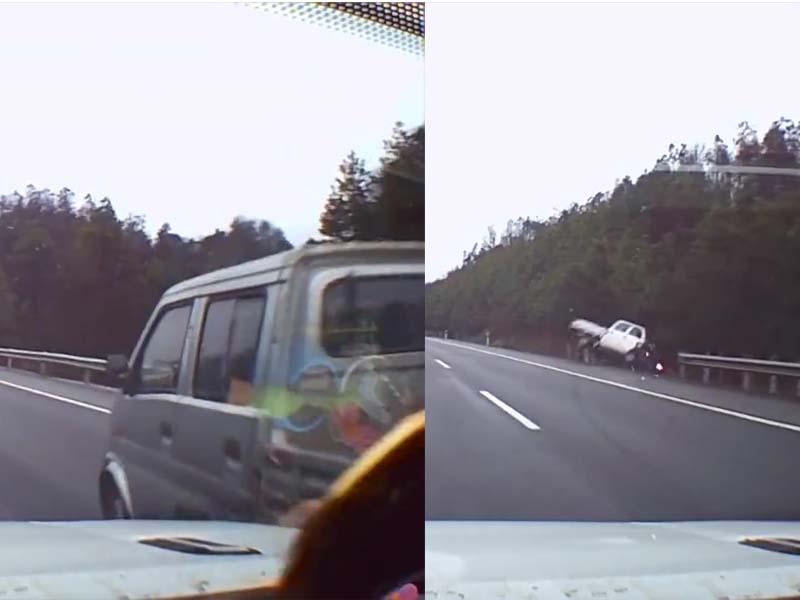 越野車司機高速公路瞌眼瞓,與小貨車擦撞,導致其衝出護欄。(網圖)