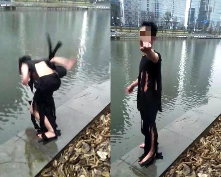 28岁男为增加人气,拍片跳河不幸溺死。网图