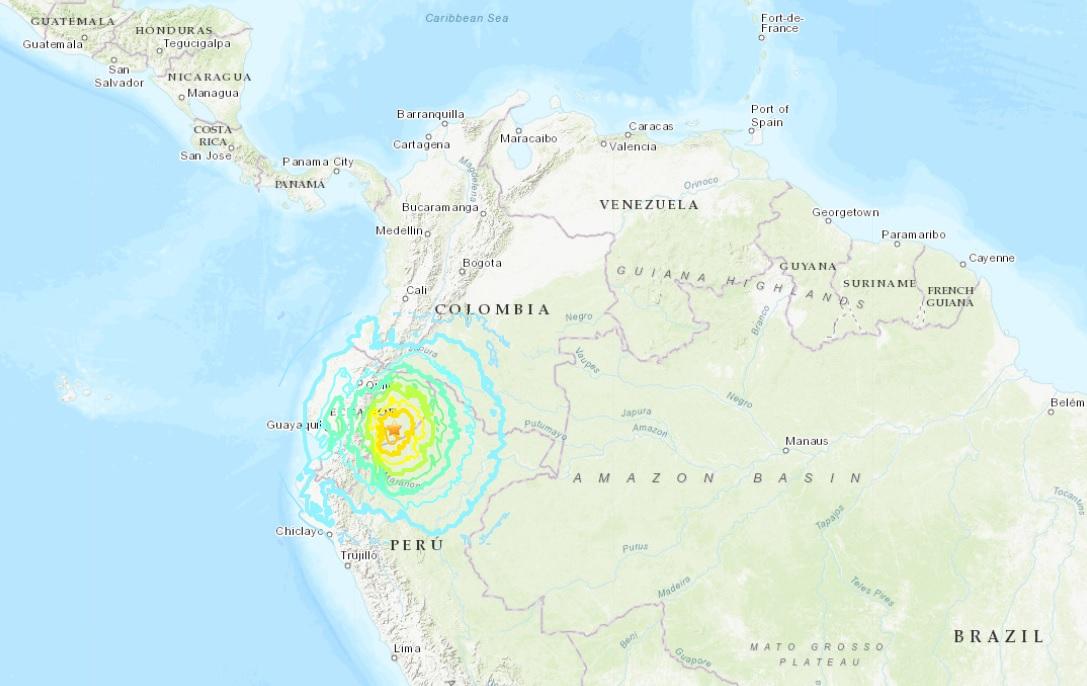 美国地质勘探局录得地震强度7.5级。