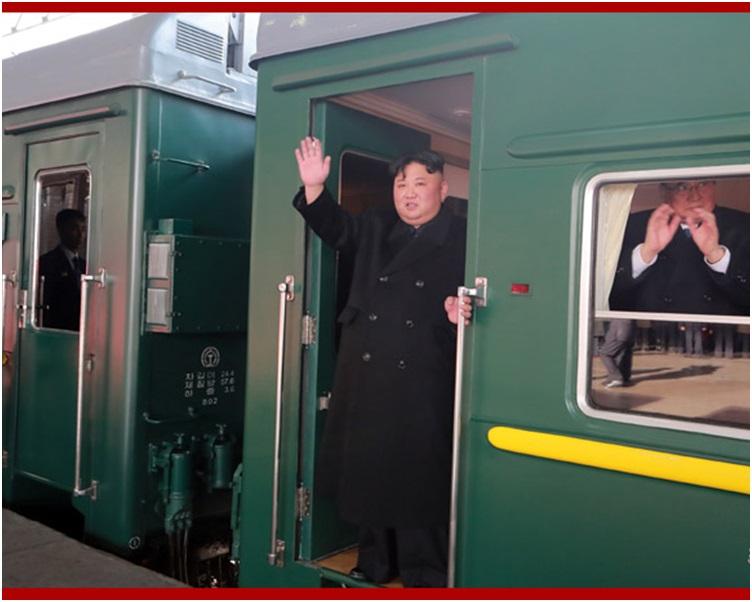 金正恩昨日下午已乘坐专列火车离开平壤前往越南。图:朝中社