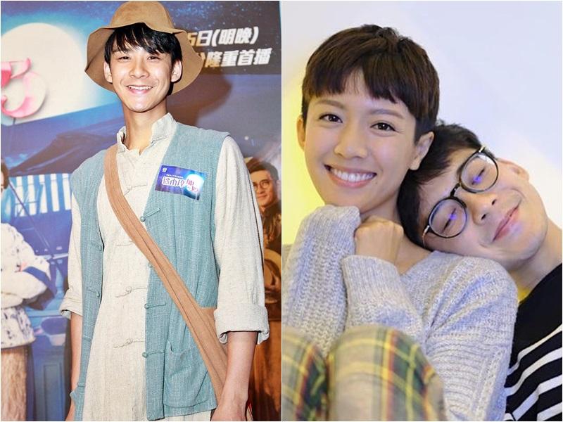 余德丞(左)出席無綫新劇宣傳活動,否認同蔡思貝發展中。