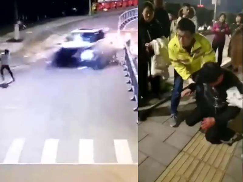 肇事越野车高速撞至时,与在路边夜跑的男子肩身而过,随后撞伤一名行人,救援人员将肇事司机救出后,该司机下跪求饶。