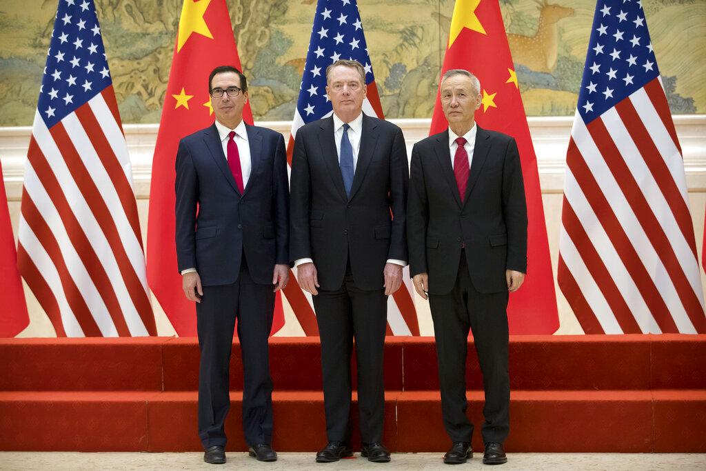 美国财长努钦、美国贸易代表莱特希泽、中国副总理刘鹤。AP图片
