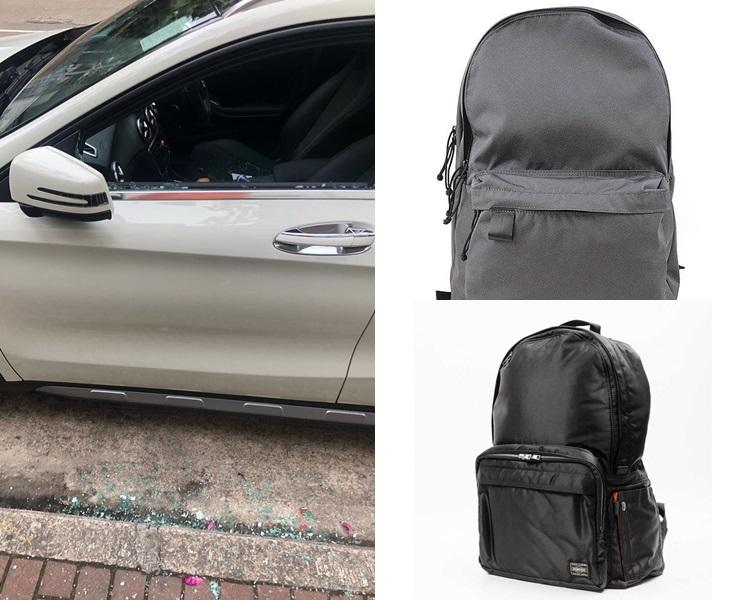 車主被打爆車窗,放在前座的背囊亦被偷走。網圖