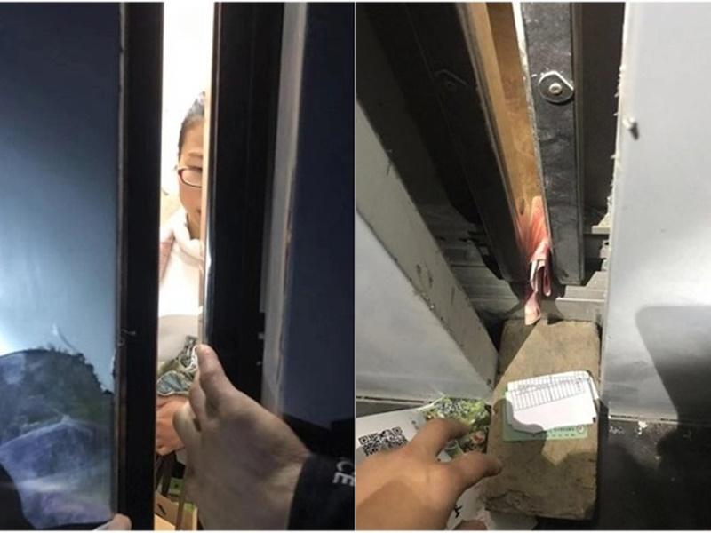 四川女教师困升降机,摄百元钞票引注意获救。网上图片
