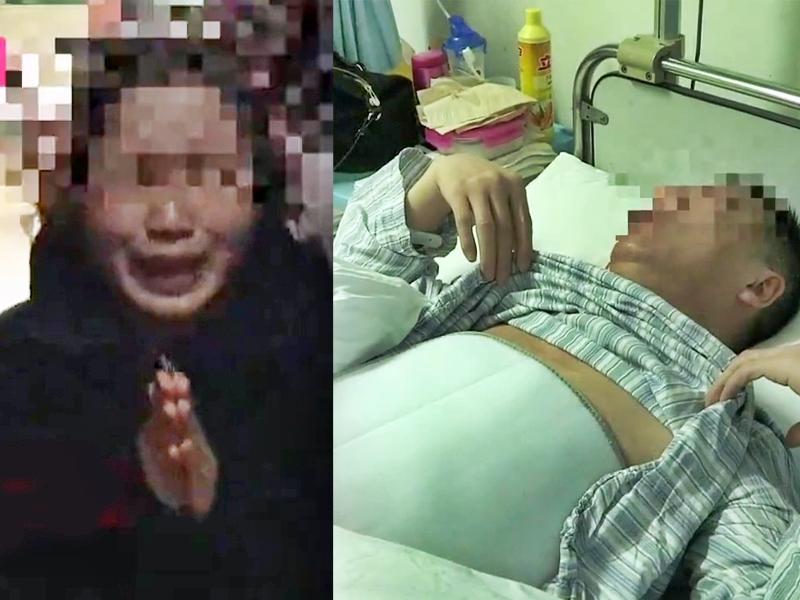孙女士在传媒镜头前下跪痛哭道歉求饶;被打的夏老先生腰椎压缩性骨折,眼角被打瘀。。网图