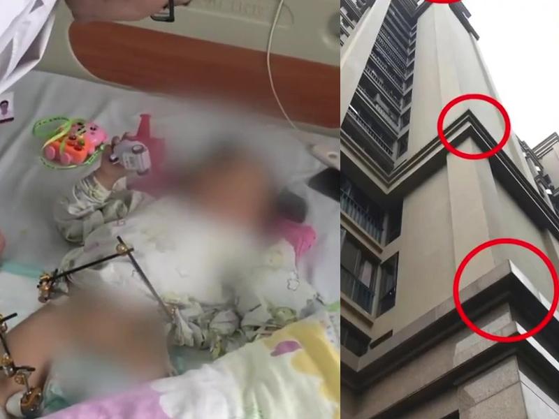 两岁女童18楼堕下,全身12处骨折,因楼层间平台和地面泡沫堆的缓冲,才得以奇迹生还。