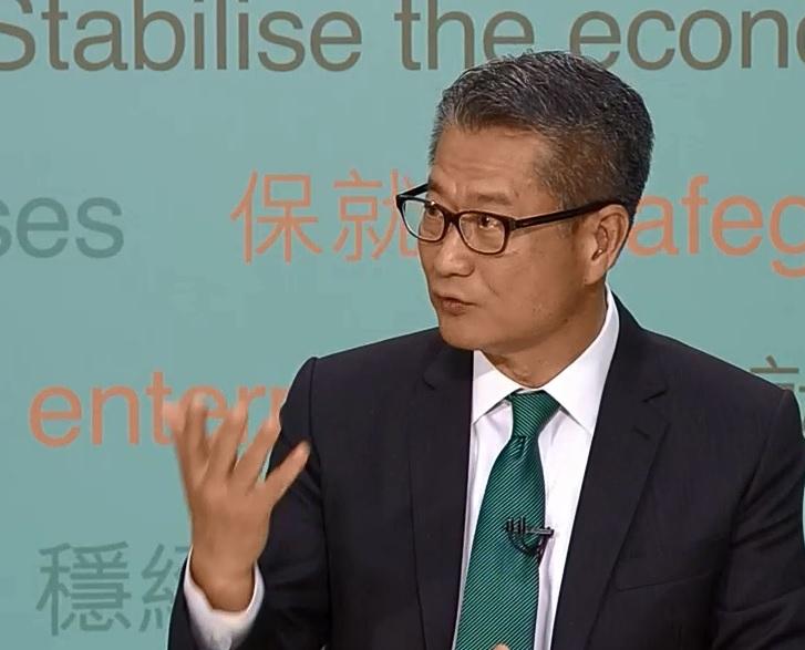 財政司司長陳茂波。電視截圖