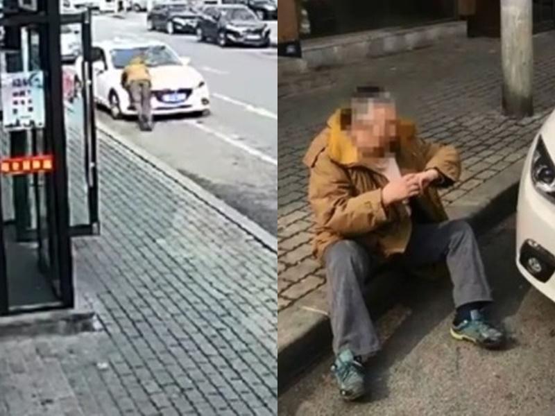 老翁狂奔百米「撞车」图屈钱。网上图片