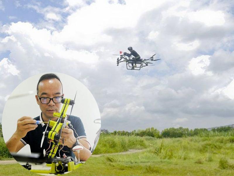 飞行梦想实现!赵德力卖楼研发两年,骑自製飞行车影片红到国外。