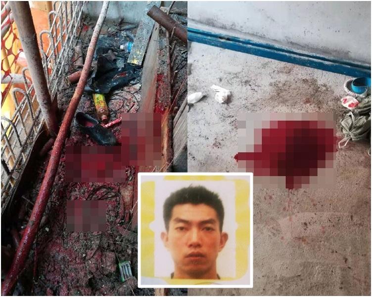 工人被擊中頭部後,現場留下血跡,小圖為死者。工友提供