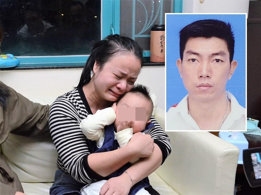 遺孀哭得聲嘶力竭,擔心日後如何養育三個兒子。小圖為死者丁金望。