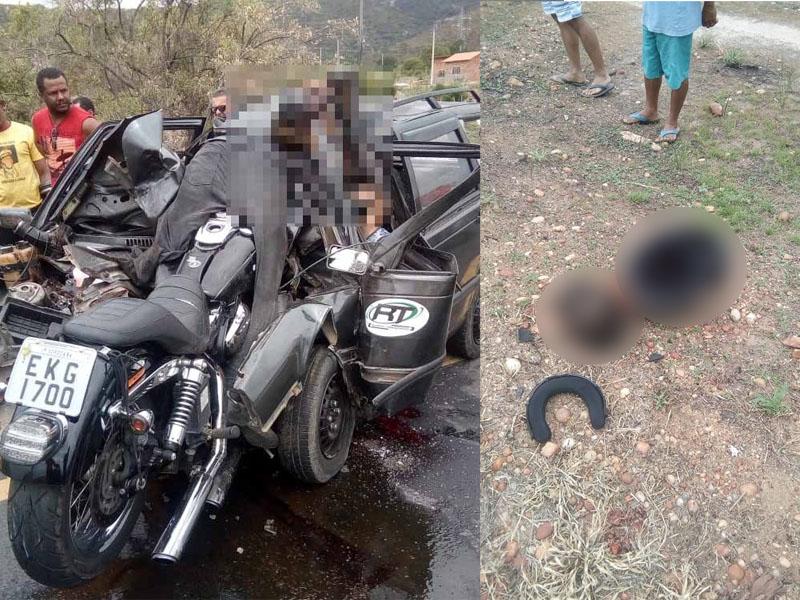 巴西一辆电单车因爬头逆向行驶撞到黑色汽车,铁骑士的头颅连头盔落地。(网图)