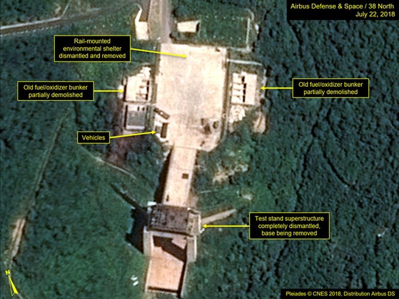 卫星影像显示北韩去年7月正在拆除西海卫星发射基地,但南韩国情院周二表示,北韩有修复东仓里导弹发射场的迹象。(资料图片)