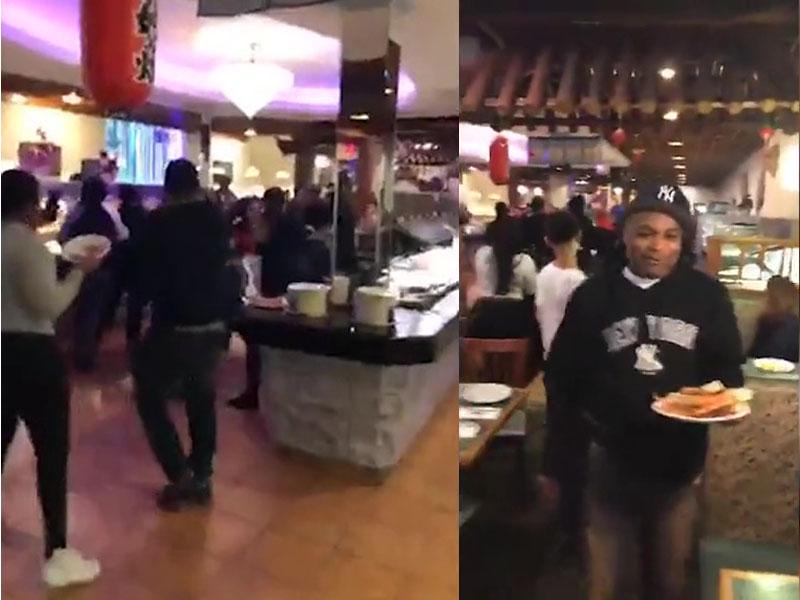 美国纽约皇后区一间中式自助餐厅,顾客为抢蟹脚而发生打斗,场面一度失控。(网图)