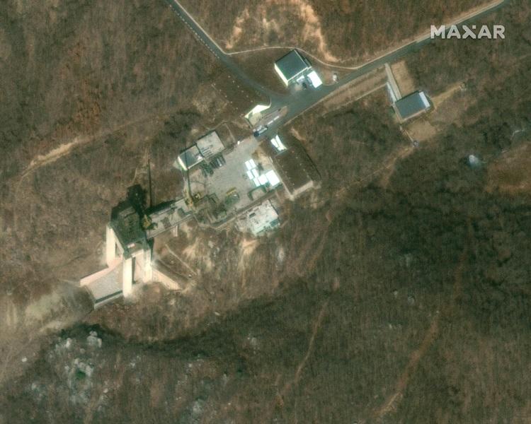 北韓今年重建東倉里發射場的影像。AP