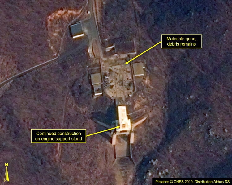 卫星影像显示北韩卫星发射场恢复运作。