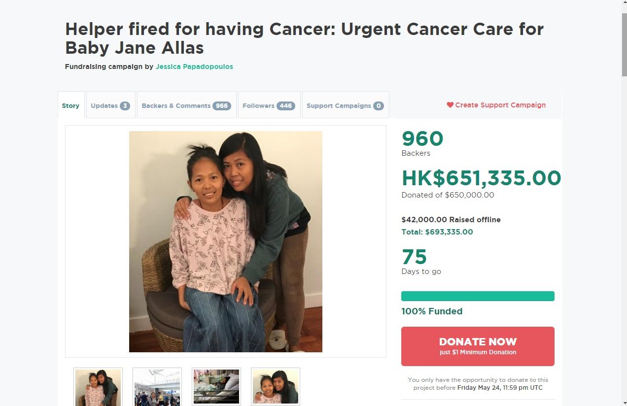 現時捐款金額達到眾籌目標的65萬元。網上圖片