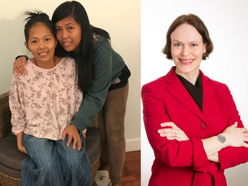菲傭Baby Jane Allas確診患上子宮頸癌(左一);好心相助的美國籍女僱主(右圖)。網上圖片