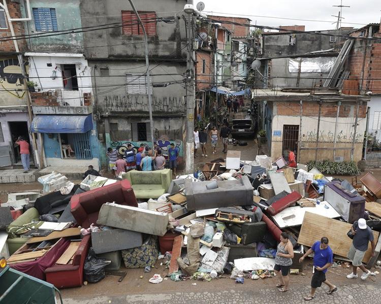 巴西聖保羅市災情嚴重。AP