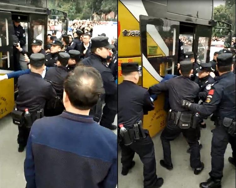 官方其後出動大批警員到場,期間用辣椒水驅散人群。影片截圖