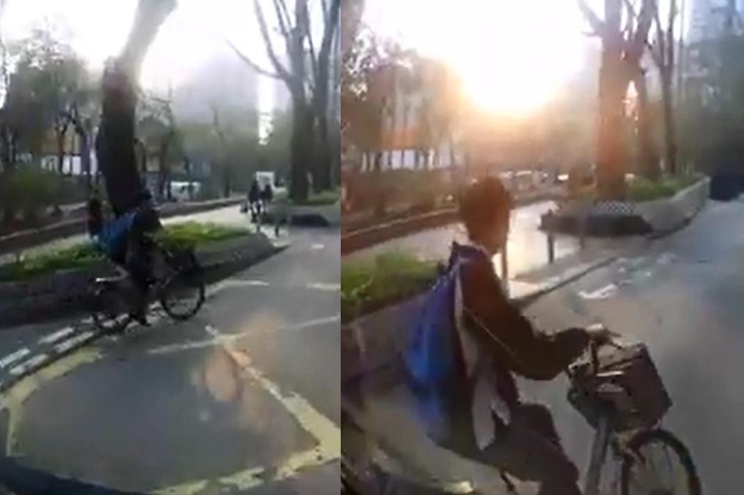 學生哥踩着單車從小路駛出,但沒有留意馬路車輛。影片截圖