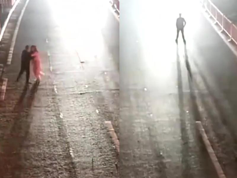 浙江一名男子与妻子吵架在马路边拉扯,更危站在马路中央,为测试妻子是否还爱自己。