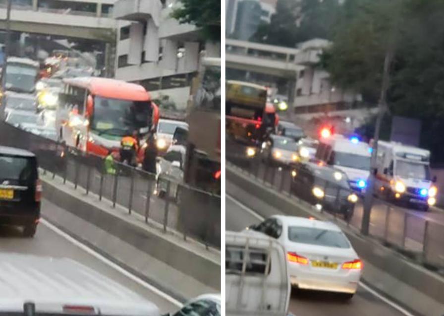 龙翔道电单车遭旅游巴撞。Mei Ni Ip图片