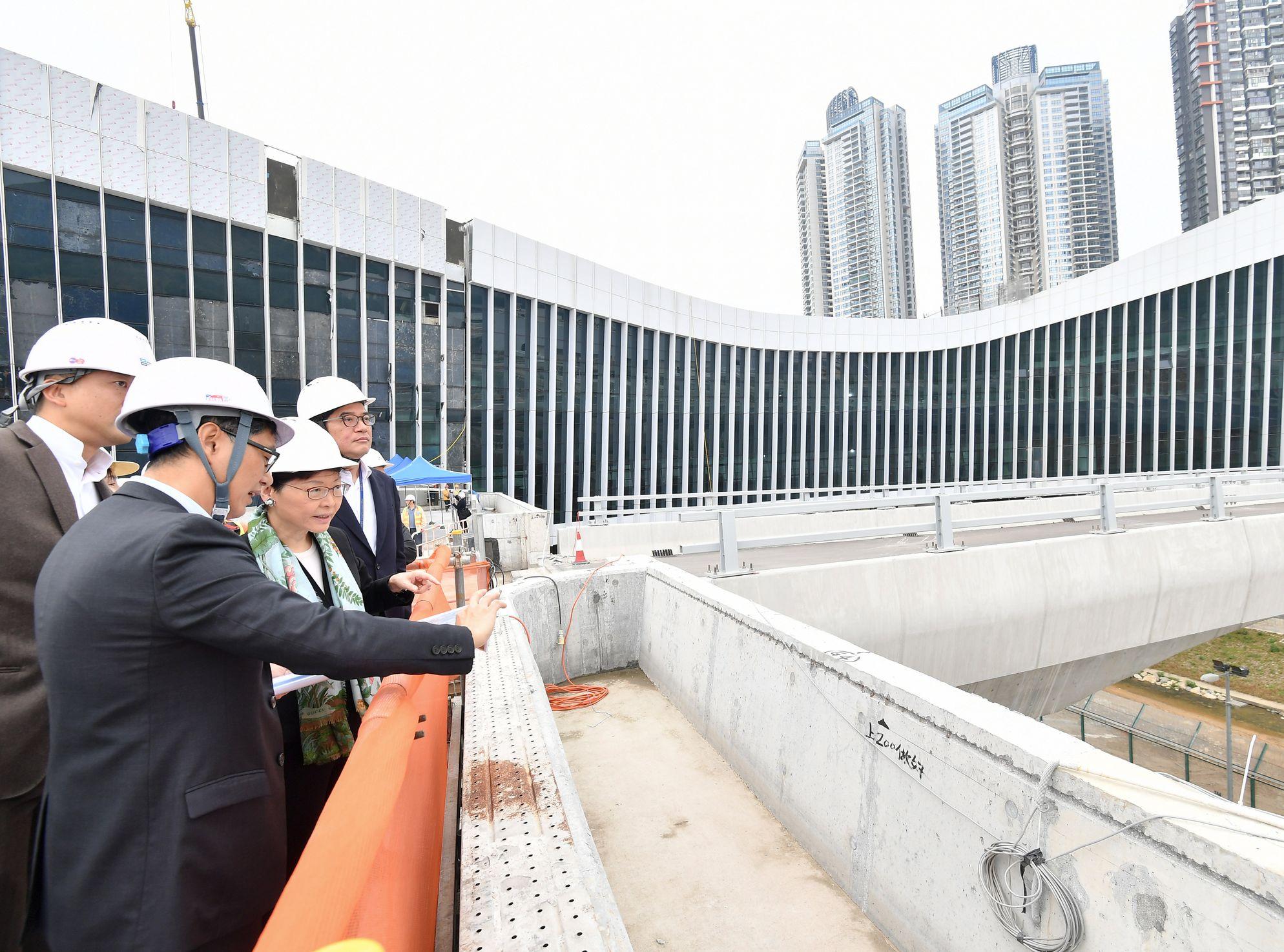 林鄭月娥視察蓮塘╱香園圍口岸工程。政府新聞處圖片