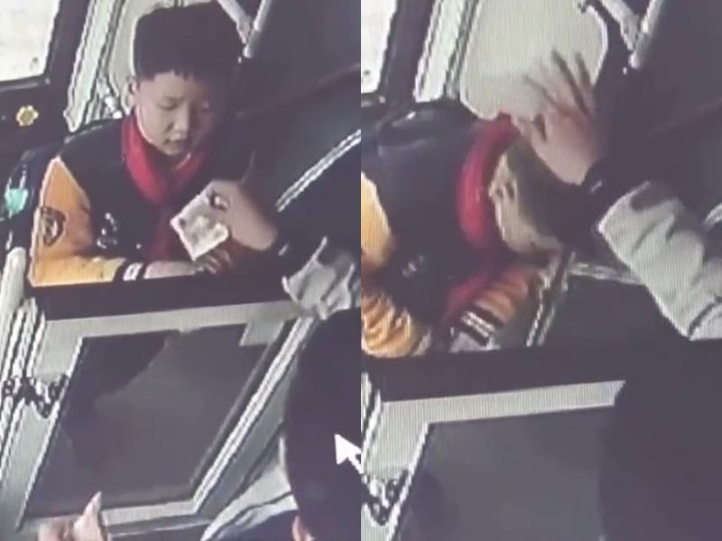 男童鞠躬向司機道謝。網上圖片