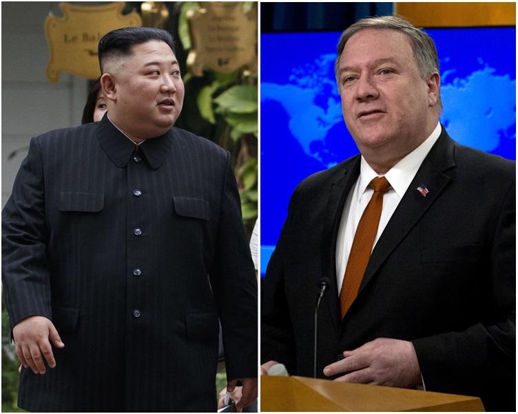 蓬佩奥(右)希望金正恩守承诺不会重启核试验和导弹试验。