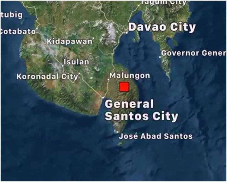 棉兰老岛城镇「Manga」东南东方15公里发生5.5地震。网图
