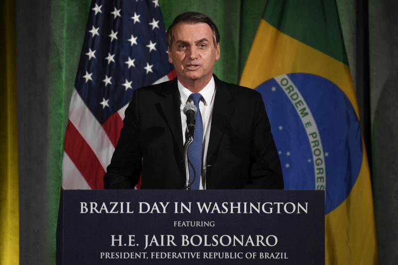 巴西新總統博爾索納羅正訪問美國。AP