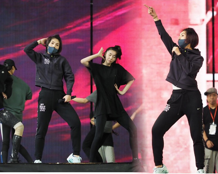 千嬅特別到江門搭個舞台出來綵排。