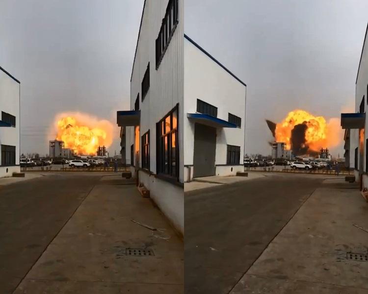 廠房爆炸火球升上半天。影片截圖