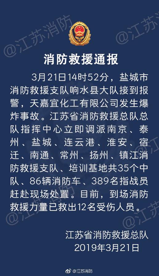 江蘇消防發通報。微博