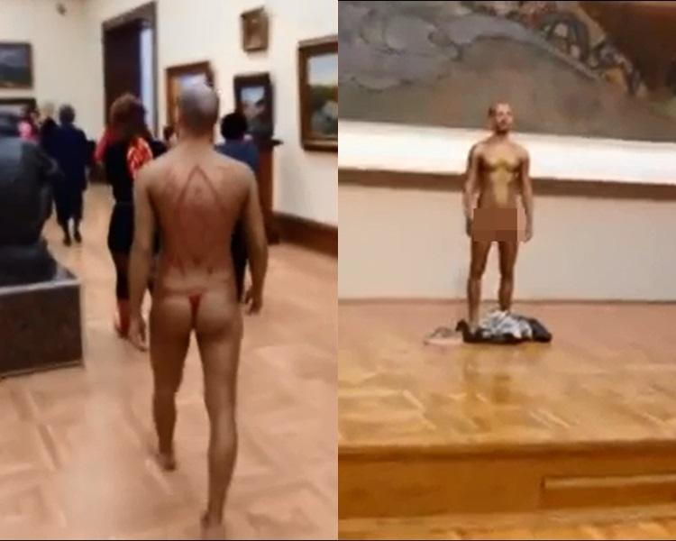 裸男在美术馆走来走去。网图/Julia Lapuridi Instagram