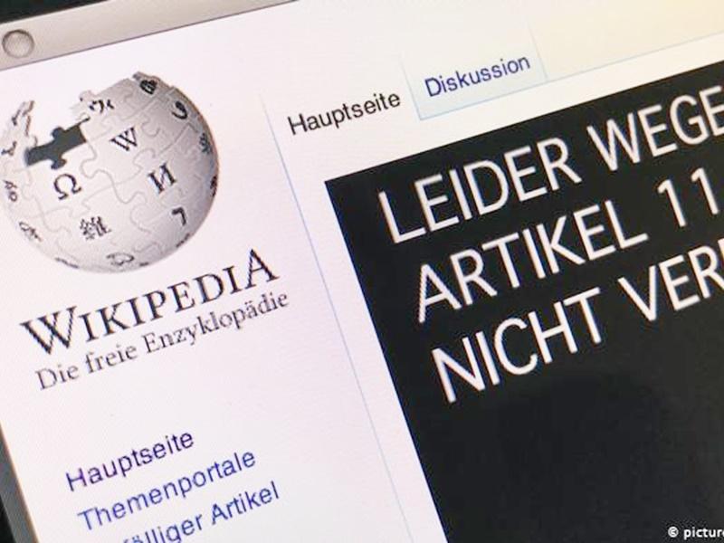 维基百科关闭一日对抗新版权法。网上图片