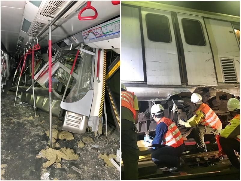 港铁周一凌晨测试新信号系统期间,在荃湾线中环站及金钟站之间有两列列车相撞。