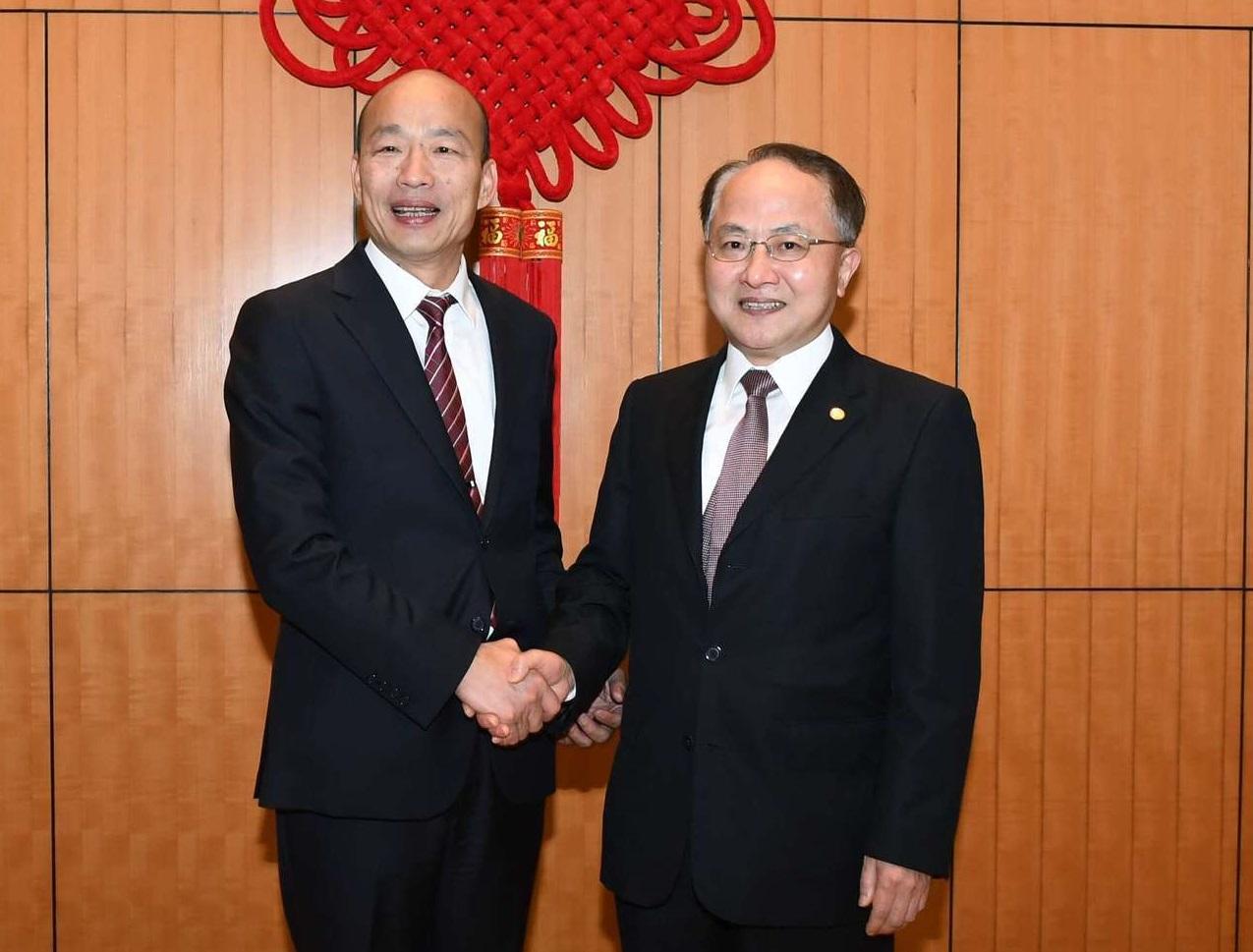韓國瑜形容,昨天與中聯辦主任王志民會面氣氛融洽。中聯辦圖片