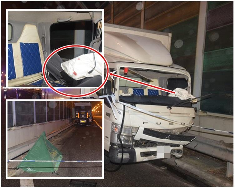 车头遗下血迹。死者倒卧离货车约10米的路肩上。
